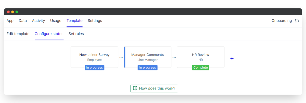 new joiner survey - configure states