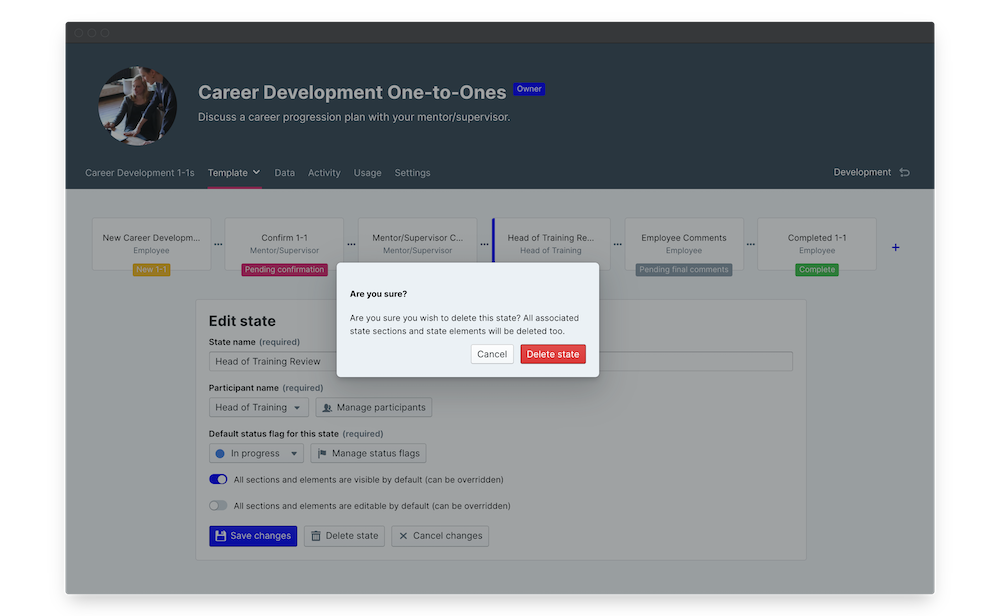 career development one to one delete state