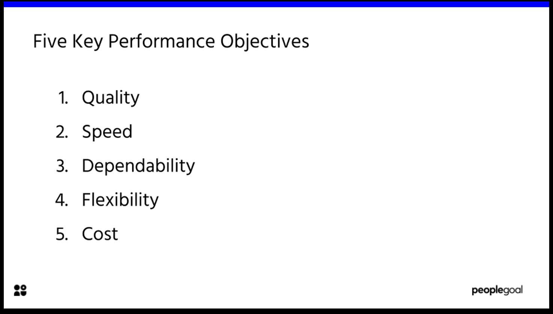 five key performance objectives
