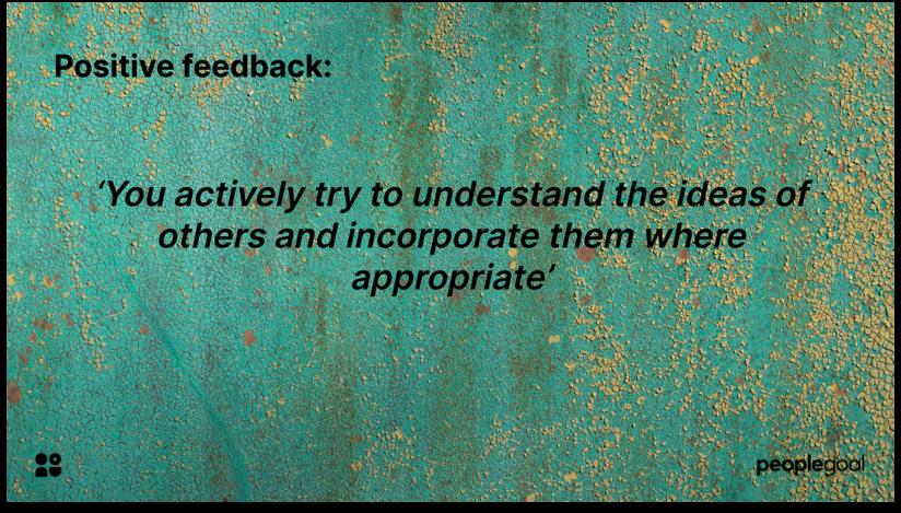 Positive employee feedback example