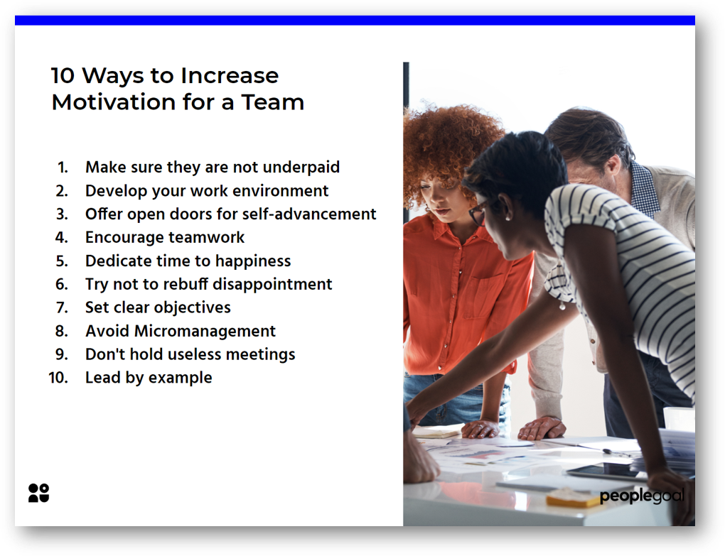 10 Ways to increase motivation for a team