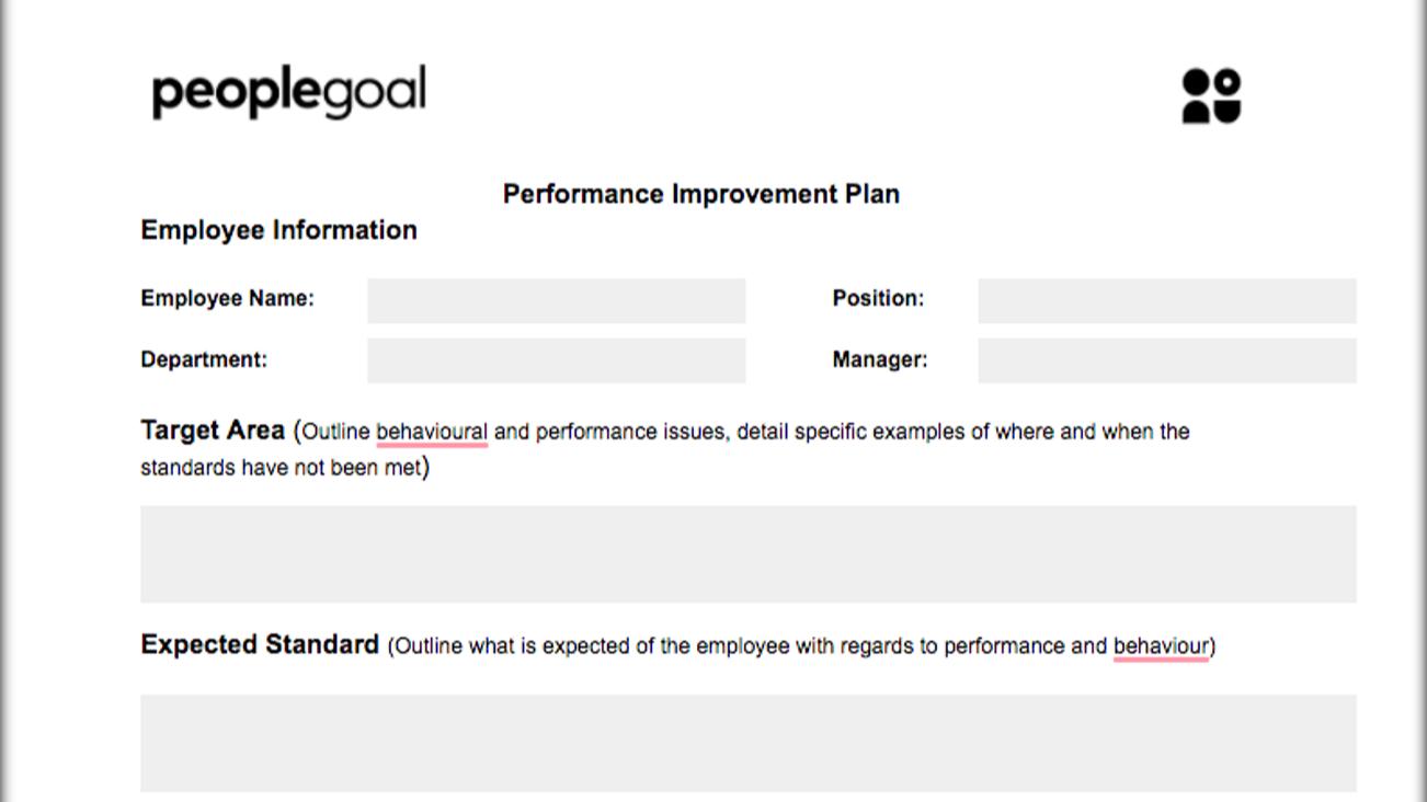 Performance improvement plan template 1