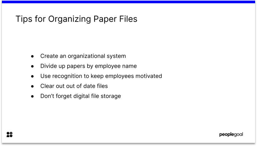 Organizing files for paper based to web based hr