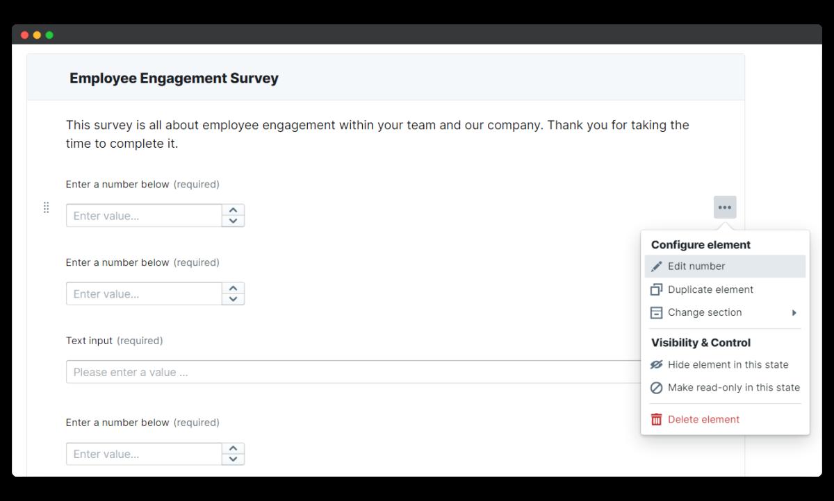 employee engagement survey - edit element