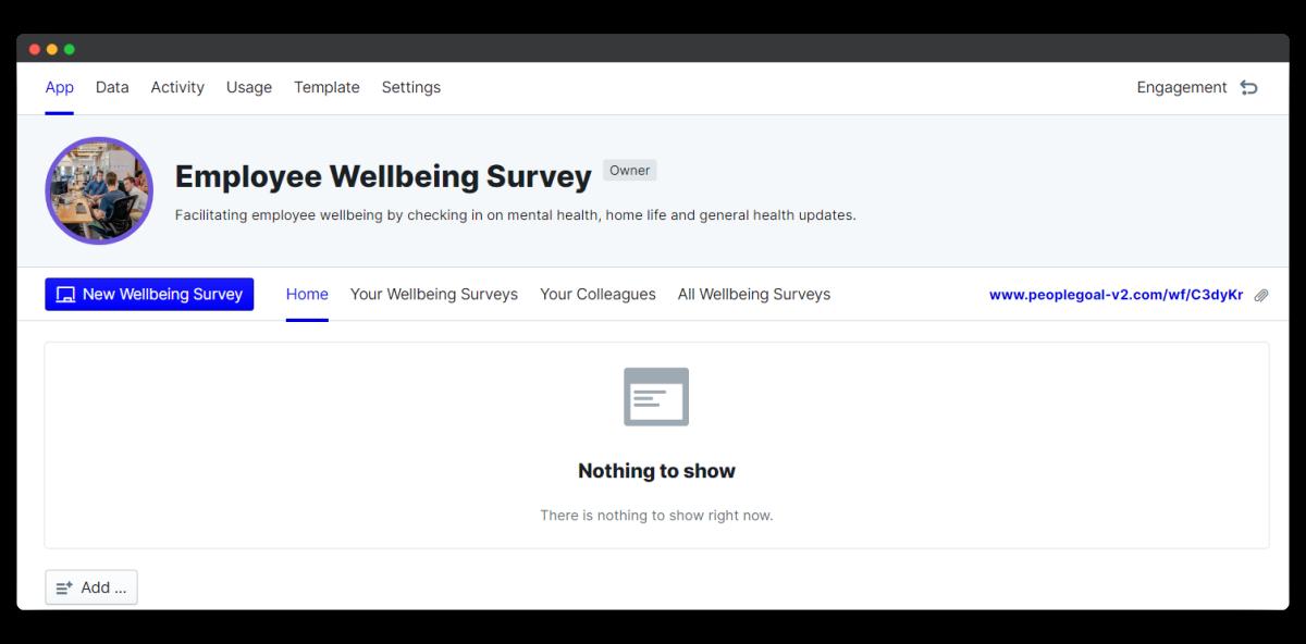 employee wellbeing survey - app home