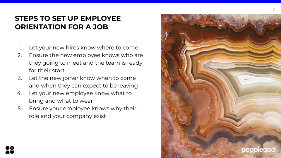 Steps to set up employee orientation for a job