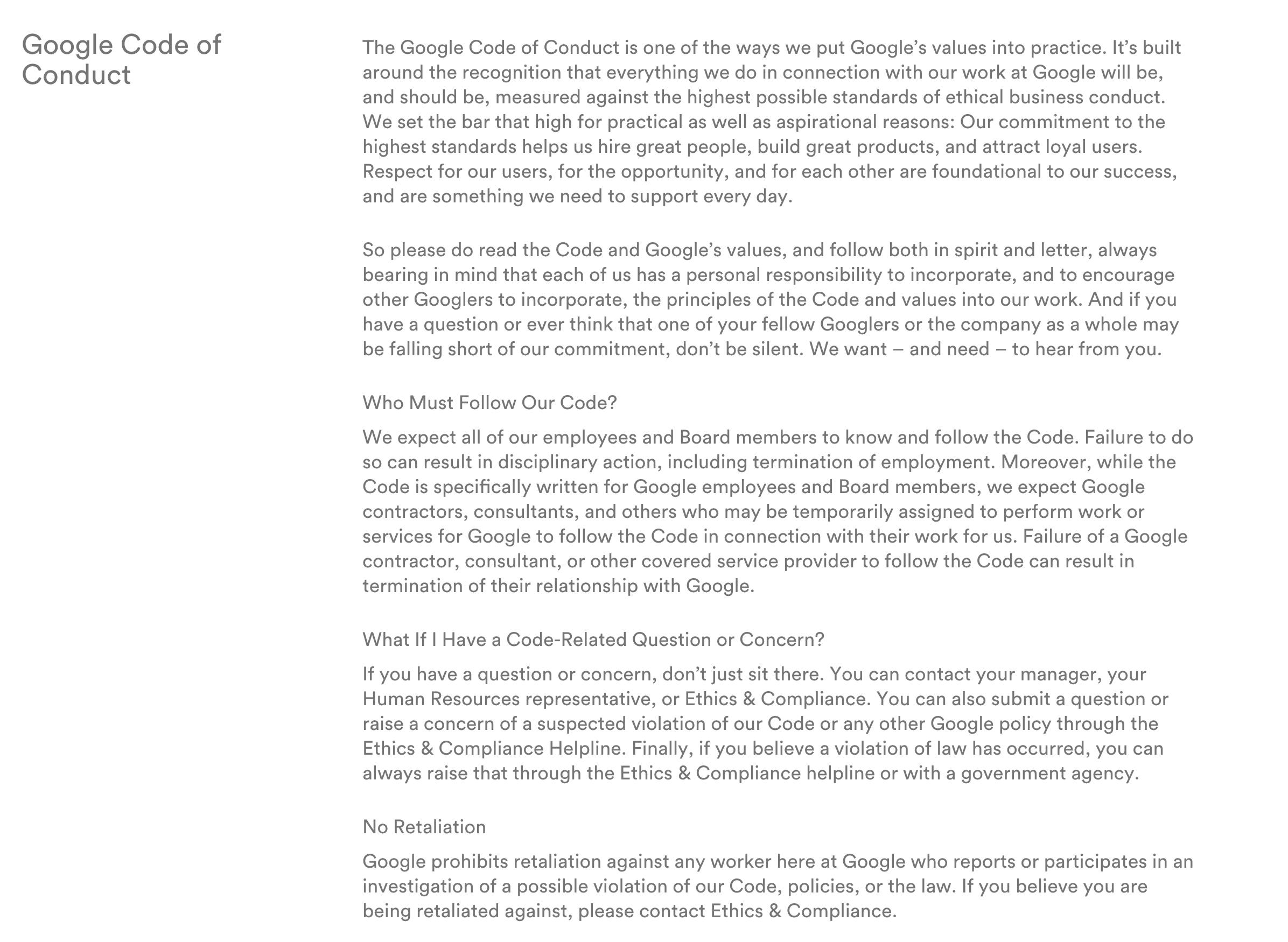 Google Employee Handbook Sample