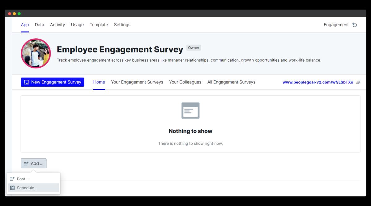employee engagement survey - add schedule