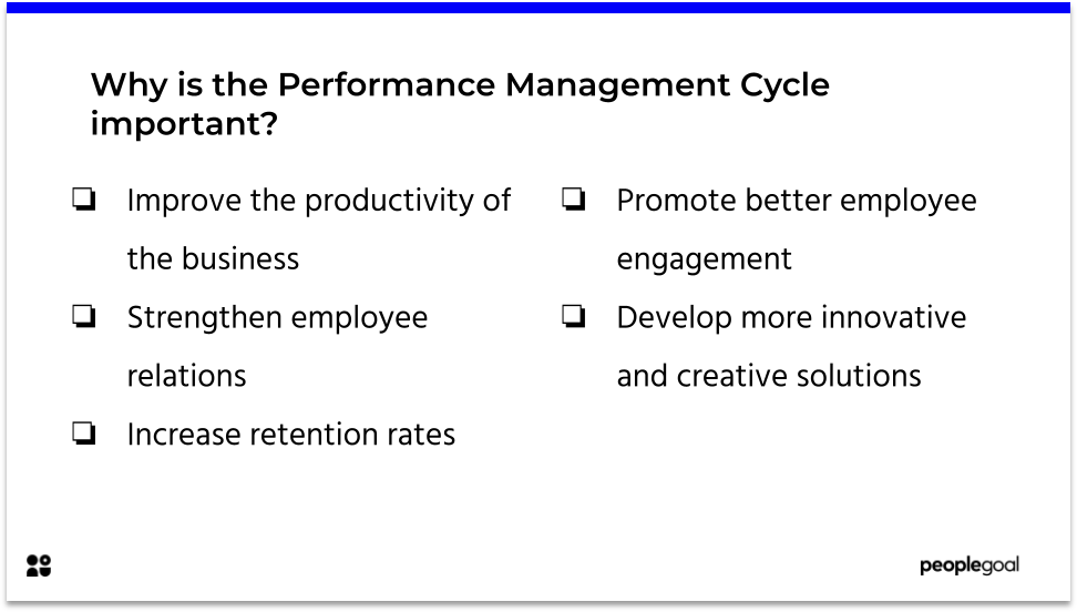 Why is the Performance management cycle important