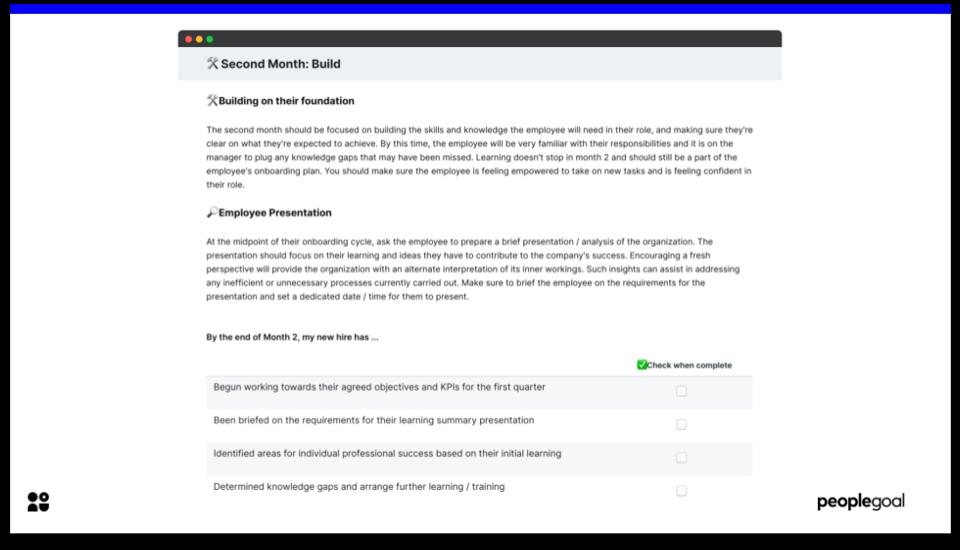 Month 2 - Onboarding Checklist