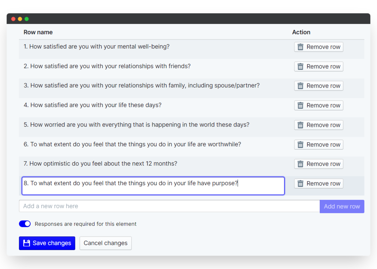 employee wellbeing survey - grid