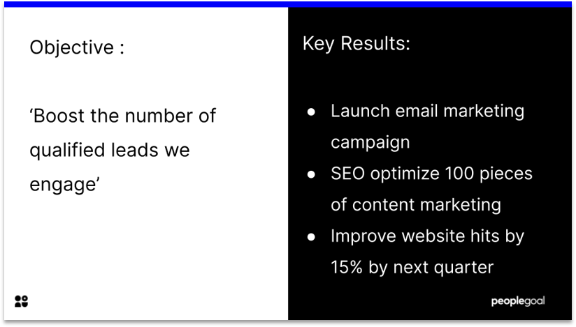 Objectives and key results example