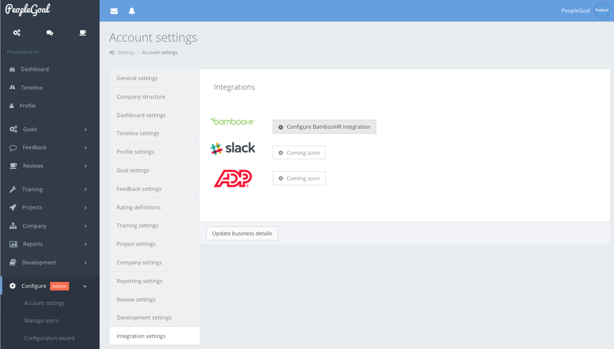 peoplegoal bamboohr configure integration