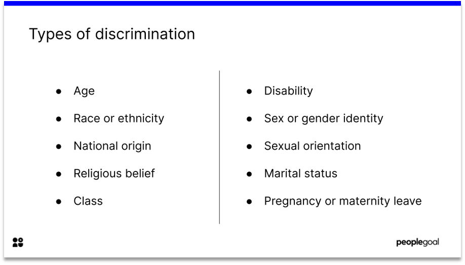 types of discrimination definition