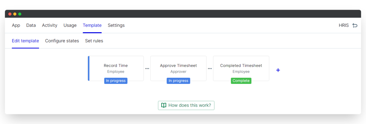 time tracking - edit template