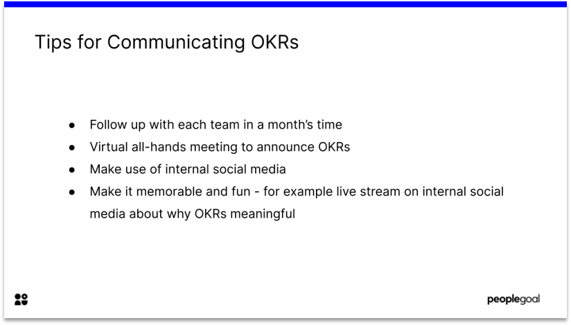 Objectives and key results communications