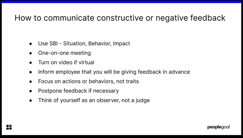 Communicating constructive or negative feedback