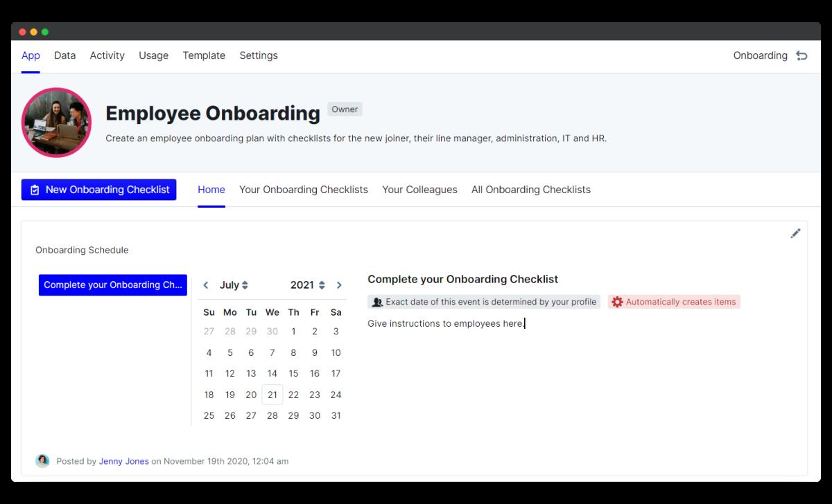 employee onboarding process - app home