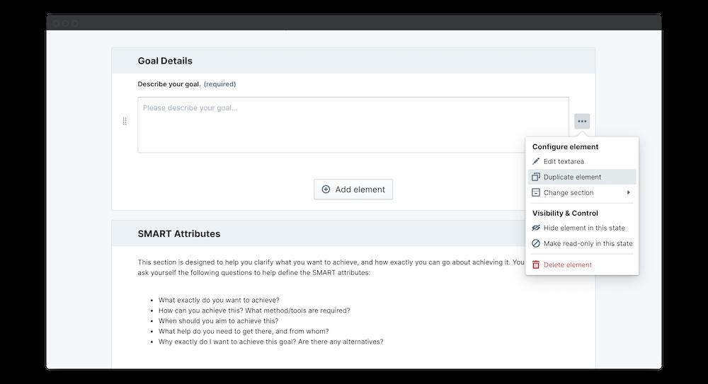 smart goals template permissions duplicate element