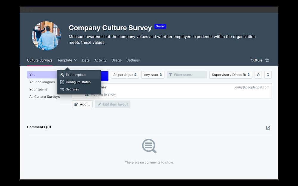 company culture survey edit template