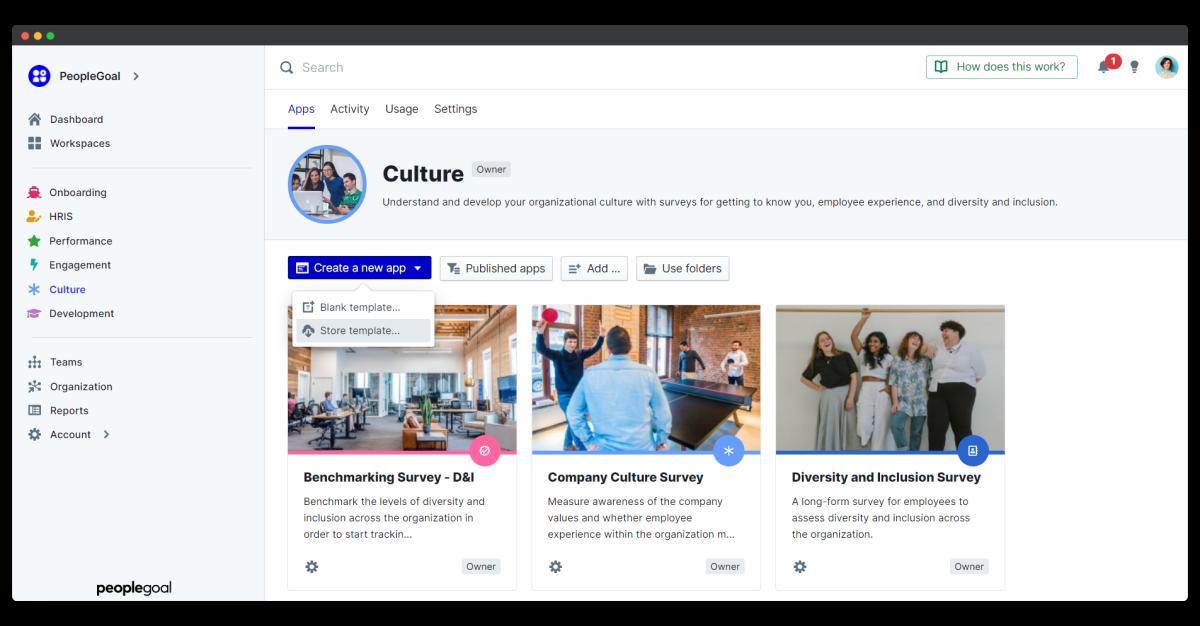 company culture survey - create a new app