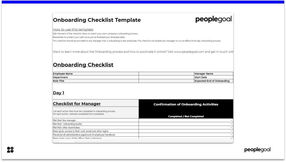 Onboarding Checklist Template