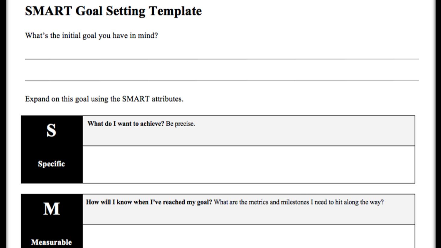 SMART Goals template in docs