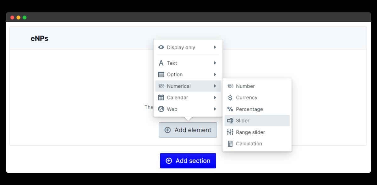 employee engagement survey - add slider