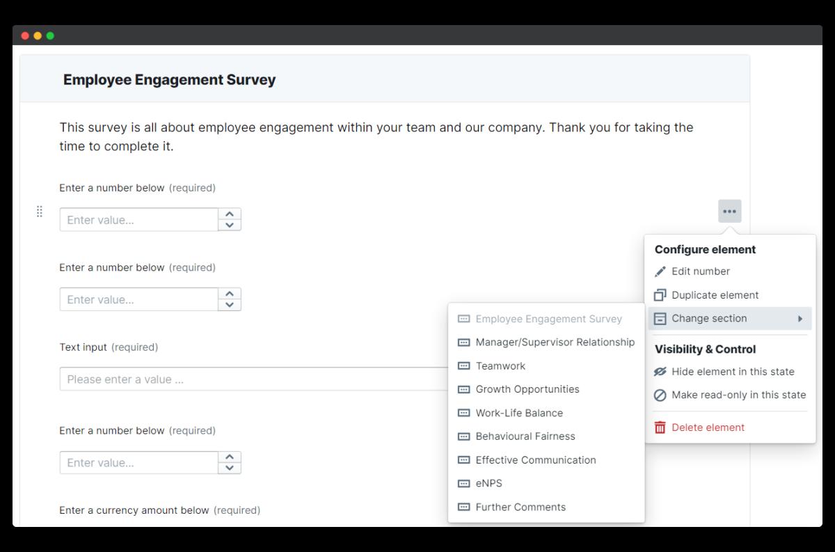 employee engagement survey - change section