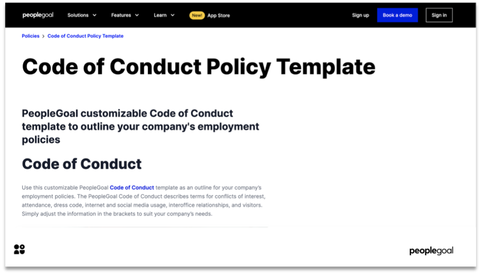 employee code of conduct policy template