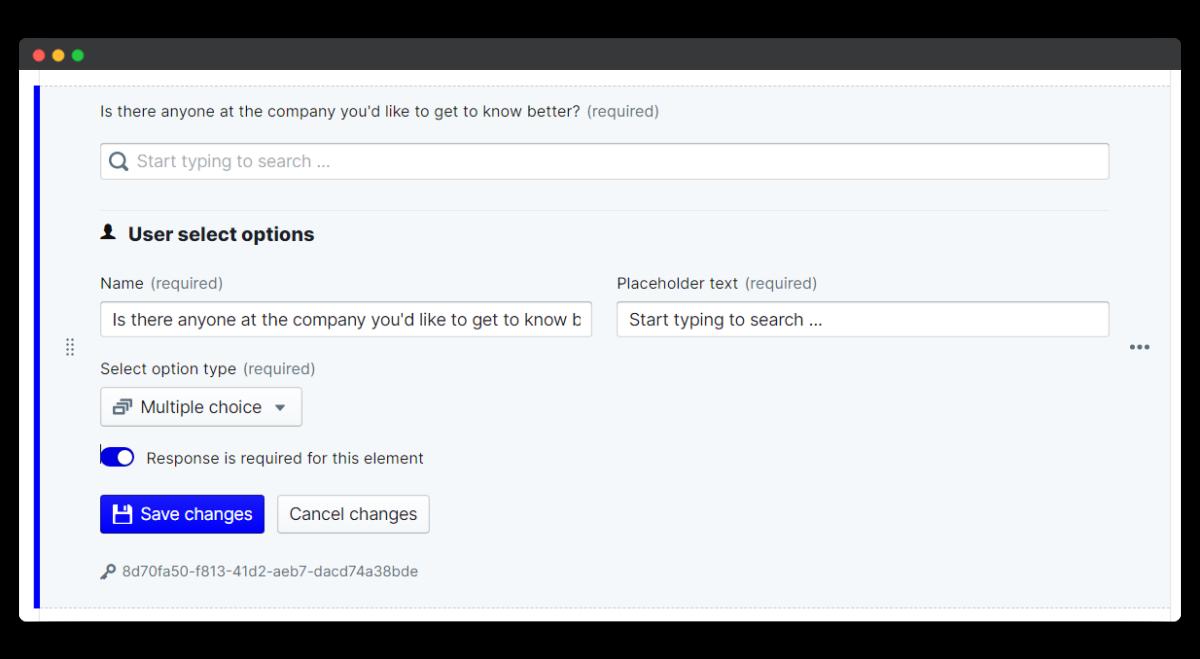 new joiner survey - user select