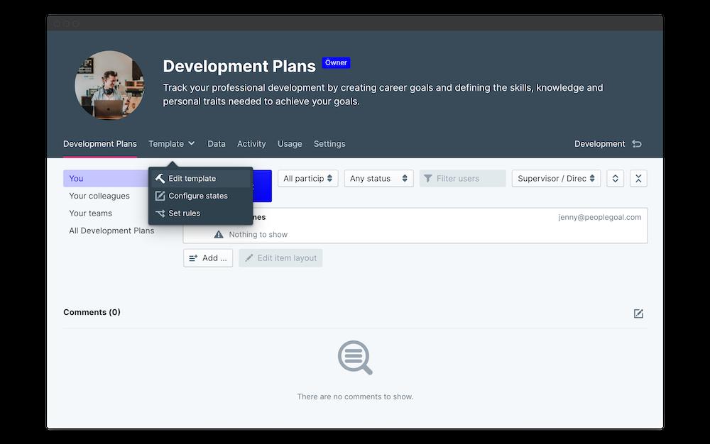 employee development plan edit template