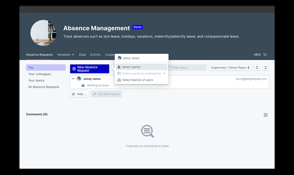 absence management request launch