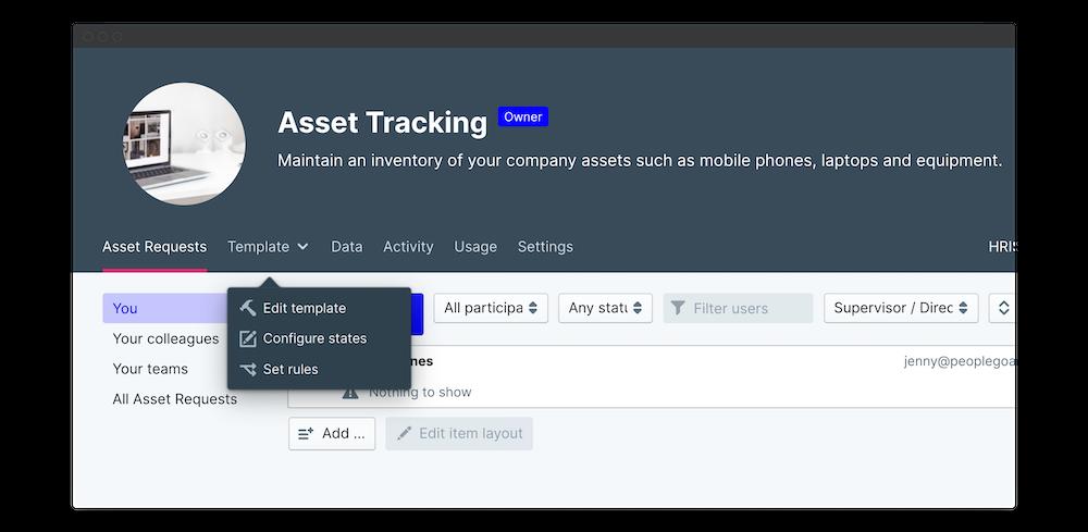 asset tracking edit template