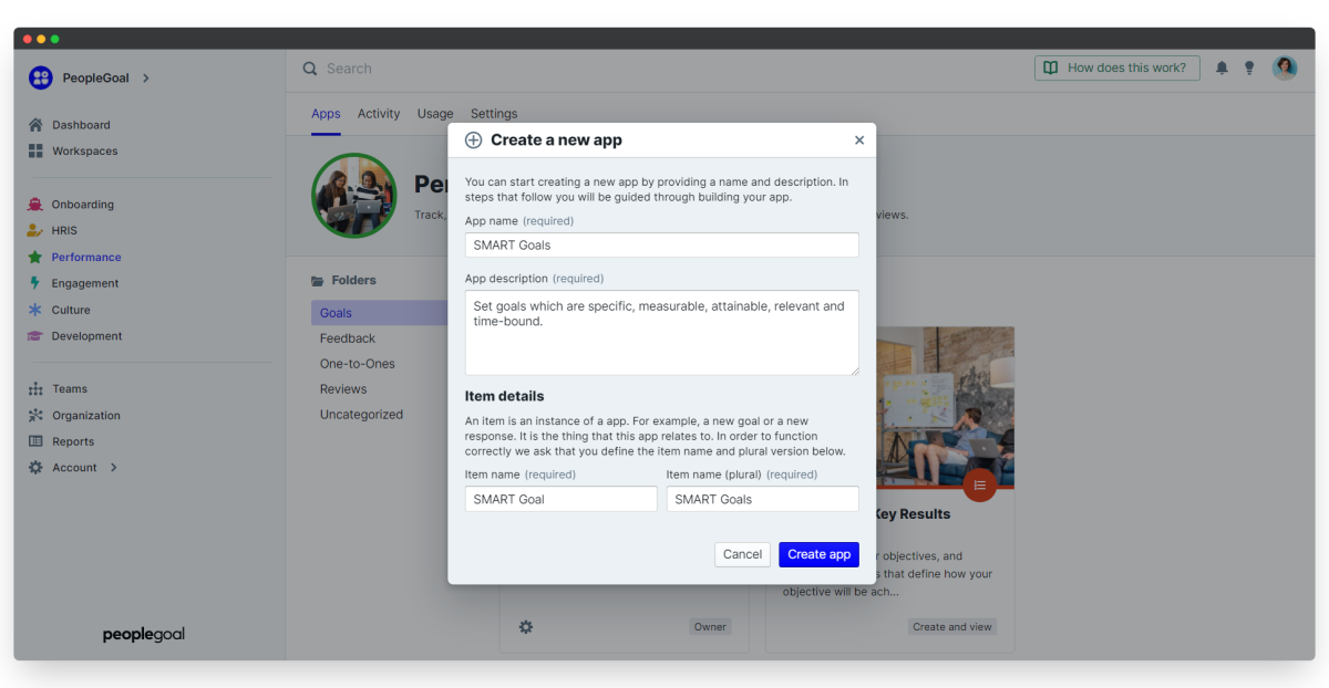 apps - create app