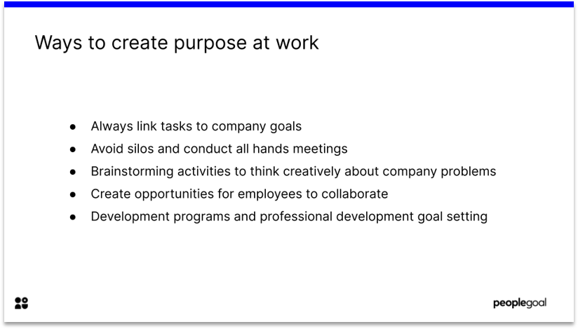 Purpose at work for employee engagement