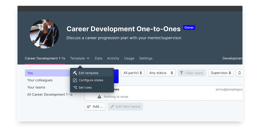 career development one to one edit template