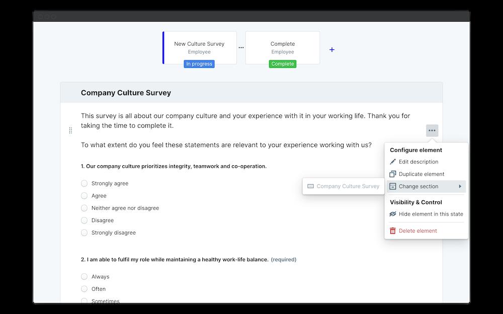 company culture survey change section
