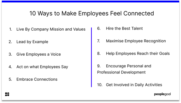 Connected Employees - 10 ways to make your employees feel connected
