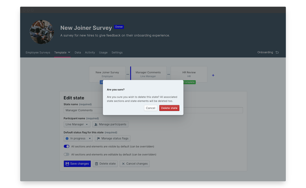 new joiner survey delete state