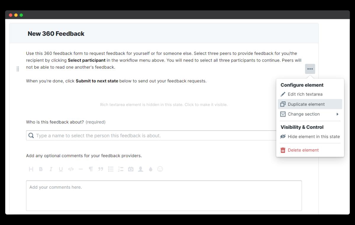 360 feedback - duplicate element