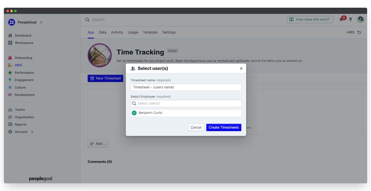 time tracking - add users