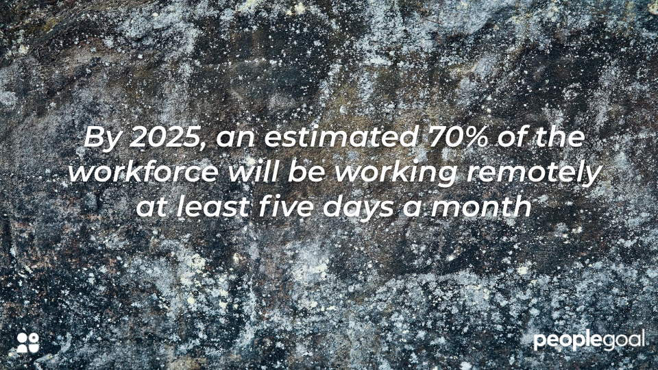 By 2025, an estimated 70% of the workforce will be working remotely at least five days a month