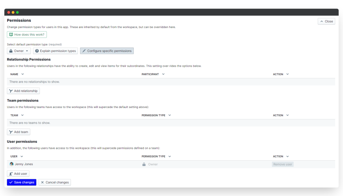 time tracking - configure permissions