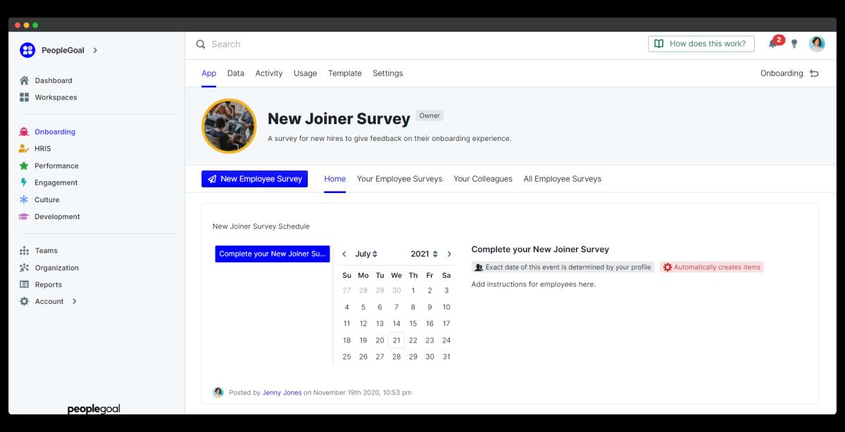 new joiner survey - app home
