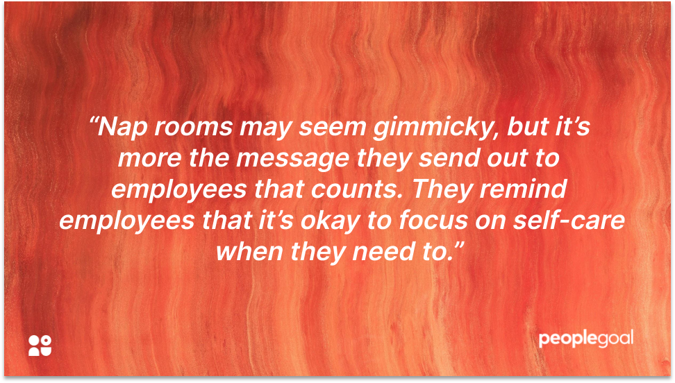 Nap rooms quote employee wellness programs