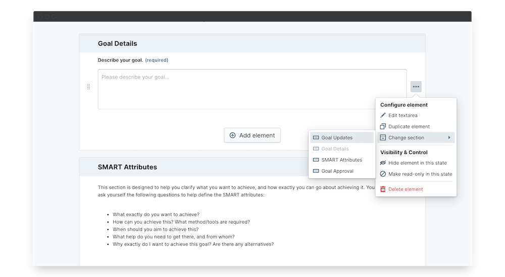 smart goals template permissions change section
