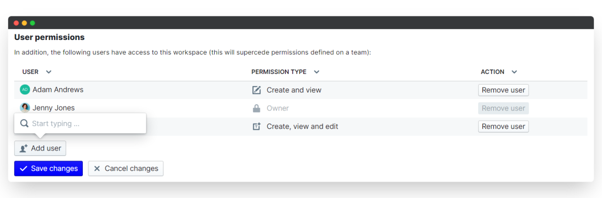 time tracking - user permissions