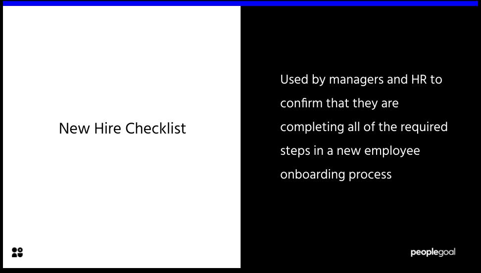 New Hire Checklist Definition