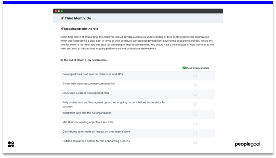 Month 3 - Onboarding Checklist
